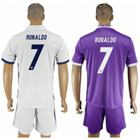 Wholesale 2016 Season Reals Madrid Home Soccer Jersey White Soccer Uniforms for Men Thai Quality Club Jersey with Shorts Custom Uniforms