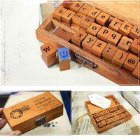 alphabet stamps lowercase - Fashion Hot Vintage Wooden Lowercase Alphabet Letters Rubber Stamps Seal Set