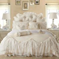 venda por atacado bedspread-Luz branca Jacquard Silk Princess set cama 4pcs seda lençóis saia de renda Ruffles duvet tampa de cama colcha king size rainha