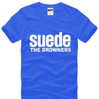 band t shirt designs - New Design SUEDE THE DROWNERS T Shirts Men Cotton Short Sleeve SUEDE Rock Band Man T Shirt Fashion Summer Rock Roll Top Tee