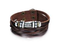 Wholesale Fashion Jewelry Oxhide Leather Bracelets Retro weave Shuangkou Bracelet Adjustable Size Rock Style Personalized men s Leather Bracelet