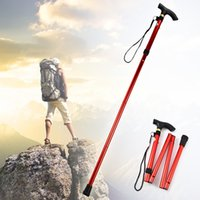 aluminum folding cane - Ultra light Section Adjustable Aluminum Metal Walking Stick Folding Collapsible Travel Cane Non slip Rubber Trekking Poles