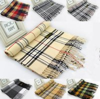 acrylic shawl - 16 Colors Women Men Tartan Scarf Warm Plaids Scarf Shawl Tassel Pashmina cm Unisex Acrylic Plaids Scarves Wraps PPA449