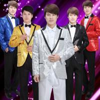 belt singing - Men s Stage Costume Party Suit Singer Singing Dance Suit Coat Pant Tie Belt Set Colors Blue Gold Sliver Red Black Size S M L XL