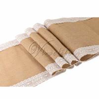 Wholesale 1Piece cm x cm White Lace LOVE Letter Pattern Natural Vintage Hessian Burlap Fabric Table Runner Wedding Party Event Home Decoration