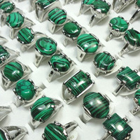 Wholesale Jewelry Bulk Mix Green Malachite Stone Silver Plated Ring For Women Men Fashion Jewelry LR524