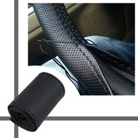 Wholesale 2016 New Universal braid on the steering wheel Sew Microfiber car steering wheel cover to cover the entire single connector cm