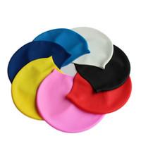 Wholesale Men Pure Color Swimming Cap Unisex Silicone Adult Big Size High Elasticity Swim Caps For Women