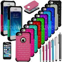 Meilleur nouveau robuste caoutchouc Bling Crystal Hard cas téléphone mobile pour iPhone 5 / 5g / 5s Housse Housse