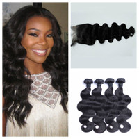 Wholesale Indian Human Hair Wefts With Closure x4 Bleached Knots Unprocessed Virgin Hair inch Indian Body Wave Lace Closure