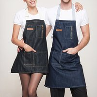 apron denim - Cotton Denim Apron baking Aprons For Men Women Delantal Cocina Cozinha With Pockets Strap Barista Barber Baker Restaurant unisex