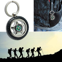 alloy wheel key - Unique Creative Rubber Alloy Wheel Tyre Compass Keychain Key Chain Ring Keyring Keyfob Compasses for Travel Camping MA0052 kevinstyle