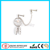 Wholesale Fashion Jewelry Body Jewelry Dream Catcher with Gemmed Double Cartilage Tragus Barbell Chain Linked Dangle L Surgical Steel of