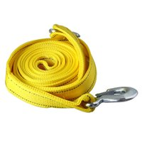 Wholesale Car Styling Meters to Tons Heavy Duty Double deck Thicken Cable Towing Pull Rope Trailer Belt Emergency Strap With Hooks