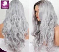 Wholesale New brown to silver grey full machine made wig long wavy ombre lace wig synthetic ombre ton wig