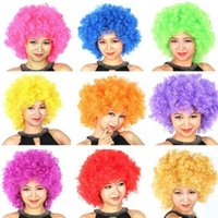 Wholesale 2016 French European Cup Fans Go Wild Cosplay Afro Wigs More Colors for Party Bar Football Cheerleaders Fan