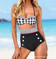 Wholesale 2016 New Retro High Waist Bikini Swimsuits Women Split Double Cover Belly Swimwear Polka Dot Two pieces Swim suit XL