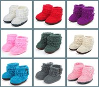 Wholesale Baby Crochet Shoes Toddler shoes Infant shoes Baby Knitted Footwear colors first walker shoes handmade infants toddlers boots cm D542
