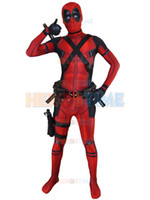 Wholesale 2016 Newest Red X Force Deadpool Costume D Printed Halloween Cosplay Male Superhero Costume The Most Classic Zentai Suit