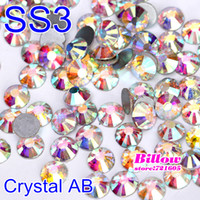 Wholesale SS3 mm bag Crystal AB Non Hot Fix Rhinestone Flatback Glue on Nail Art Rhinestone for Nail Art Phone DIY B2023