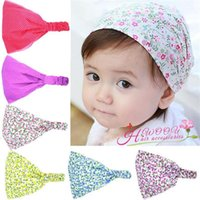 babushka fashion - New Baby Floral printing Headbands Kids Polka Dots turbans kerchief girls hair fashion band headscarf babushka Cute Head Cap Colors KHA47