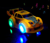 Wholesale 50pcs DHL wheels toys Cars with led light gimbal wheel Music Car toy Stunning LED Universal Automatic Steering Lighting Car Toy