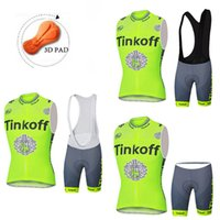 Wholesale Tinkoff Saxo Bank Sleeveless Cycling Jerseys Set Short With Padded Bib None Bib Trousers Green Fluo Bicycle Clothes XS XL Size