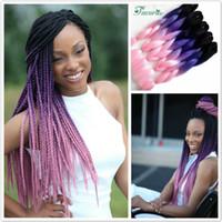 Cheap Wholesale-Black&Purple&Pink ombre kanekalon braiding hair 24'' xpression braiding hair best quality 100g kanekalon jumbo