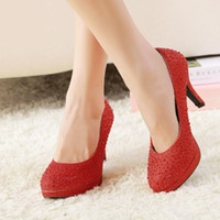affordable heels - New Korean Style Fashion Affordable Round Toe Platform Wedding Pumps Highe Heels White Gold Ladies Red Bridal Shoes