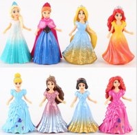 Wholesale 8 set Elsa PVC Anna Action Figures set doll dress can change Classic Toys kids toys for girl princess