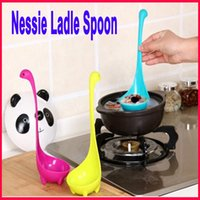 Wholesale Lovely Useful Nessie Soup Ladle Loch Ness Monster Design Upright Spoon Home Kitchen Bar Cute Cooking Accessories Colorful