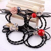 Wholesale Korean crystal pearls hair bowknot Elastic Hair Rope Rings Ties Bands Ponytail Holders Girls Hairband Headband Hair Accessories