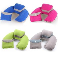 Wholesale Outdoor Office Portable Plane Hotel Folding PVC Flocking Pillow Air Pillow New Inflatable U Shape Neck Blow Up Cushion
