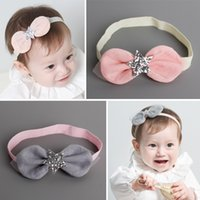 Wholesale 20pcs Baby Stretch Headband Solid Cotton Bow with Glitter Star Baby Hairband Fashion Cute Princess Rabbit Ear Adjustable Headbands