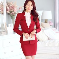 Wholesale Female Skirt Suits New Uniform designs Womens Business Suits Formal Office Work For Ladies Suits Blazer with Skirts Red