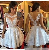 Discount jewel neckline homecoming dress - Sexy Short White Lace Cocktail Dresses Sheer Jewel Neckline Backless Short Sleeves Club Party Dress vestidos Homecoming Gowns