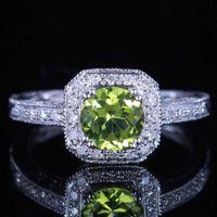 antique peridot ring - 10K White Gold VINTAGE ANTIQUE MM GENUINE PERIDOT DIAMOND WEDDING RING SIZE