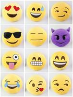 Wholesale Earlygreen Emoji Stuffed Plush Pillows Cartoon Emoji Smiley Pillows Cushion Pillows Yellow Round Pillow Stuffed Plush Toys CM via DHL