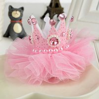 beaded barrettes - 2016 New Arrival Children Three dimensional Crown Hairpins Hair Accessories Baby Kids Lace Gauze Beaded Headdress Girl Chiffon Headband
