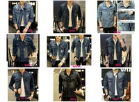 bead patch - New Fashion Mens Denim Jacket Famous Brand Jeans Jacket Coat High Quality Mens Jackets and Coats Casual Jackets Hot Sale