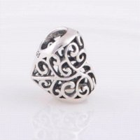 Wholesale Everbling Jewelry Heart Sterling Silver Charm Bead Fits Pandora European Charms Bracelet Necklace G1