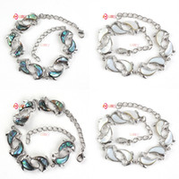 abalone beads - New Stylish Trendy Natural Abalone Shell Lovely Dolphin Shape Silver Plated Beads Bracelet Charm Jewelry