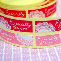 Wholesale 1200pcs Specially for you lace pink red sealing paste Valentine gift sticker labels