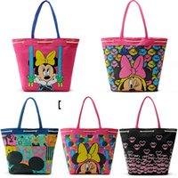 Wholesale 2pcs Minnie Oversize Canvas Handbag Cute Cartoon Mickey Mouse Print Shopping Bag Storage Bag Xmas Gift Bag cm cm cm