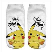 adult knitted slippers - Adult Poke Pocket Socks Fashion Monster Ankle Socks Poke Pikachu Sock Slippers Poke Ball Boat Socks D Print Digital Socks Poke Hosiery B799