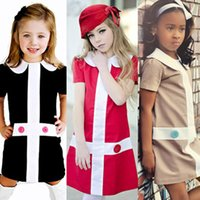 Wholesale casual little girls dresses european girl clothes summer style fashion cross girl party dress red khaki black kids clothing christmas