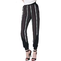 Wholesale Europe America personality all matched stripe splicing casual women long pants popular women ninth Harem pants