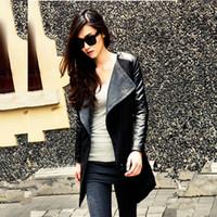 Cheap leather jacket women jaqueta de couro 2016 winter coats ladies jacket casaco feminino Red Black patchwork leather overcoats FS0644