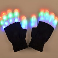 Wholesale New Models fashioncolorful LED Light flash gloves shuffle gloves for Christmas Halloween Festival props gift black CM CM Whole fingers