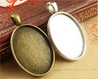 al por mayor colgante de joyería de plata en blanco-A1433 36 * 21MM Fit 25 * 18MM ajuste de bronce antiguo camafeo oval, metal de plata tibetano de estampado de base en blanco, la elaboración de joyas bisel colgante de la bandeja